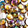 Acrylic Round Flat Back Rhinestones 20mm Gold Aurora Borealis 200pcs/bag